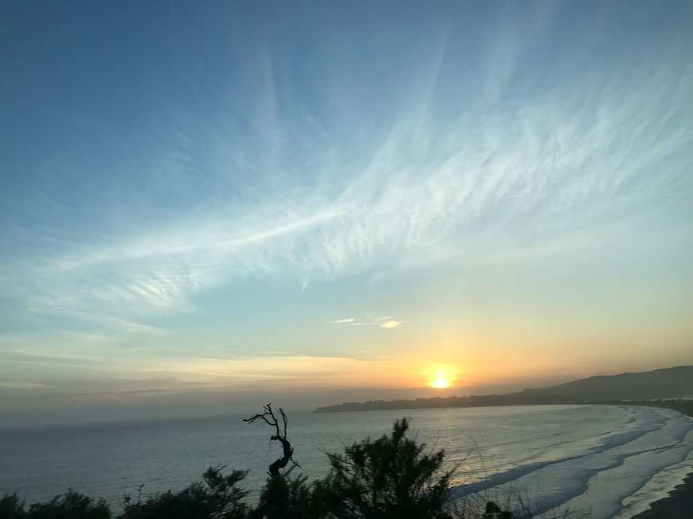 An imperfect photo of a perfect sunset in Stinson Beach.