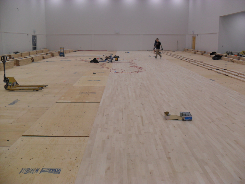 The installers use sheets of plywood as their straight-edge as they lay down the maple hardwood.