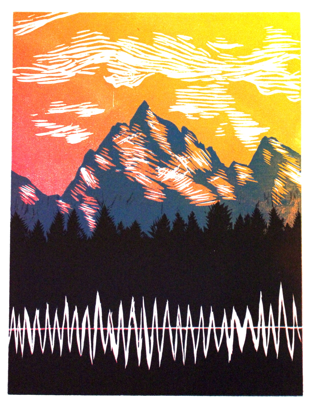 Music Mountains   Reductive Block Print