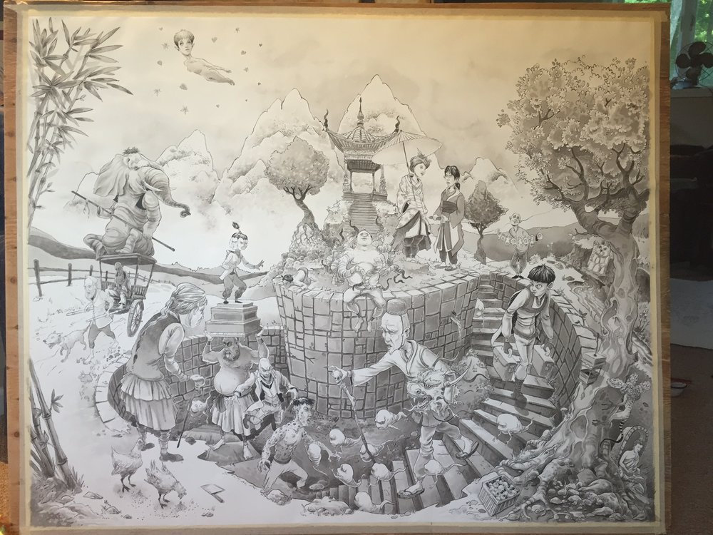 The Path 2016 3' X 4' Arches #140 Hot Press, ink, ink wash