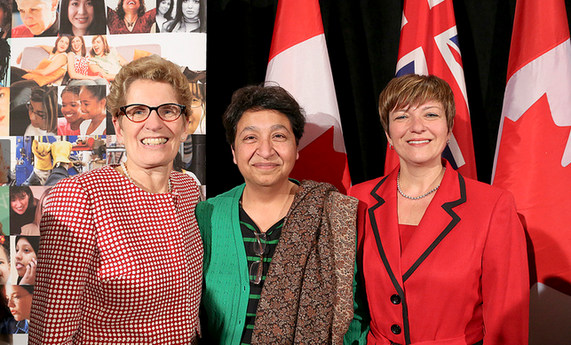 Premier Kathleen Wynne, Uzma Shakir, Director Office of Equity, Minister Teresa Piruzza