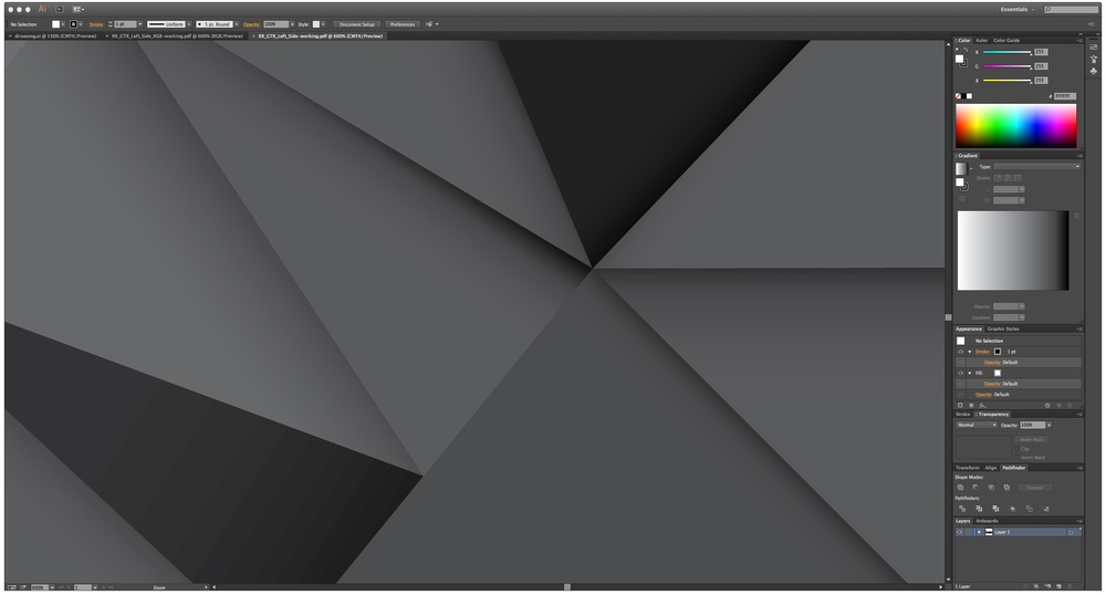 Example of 'banding' in illustrator, really noticeable in the dark triangle in the left corner