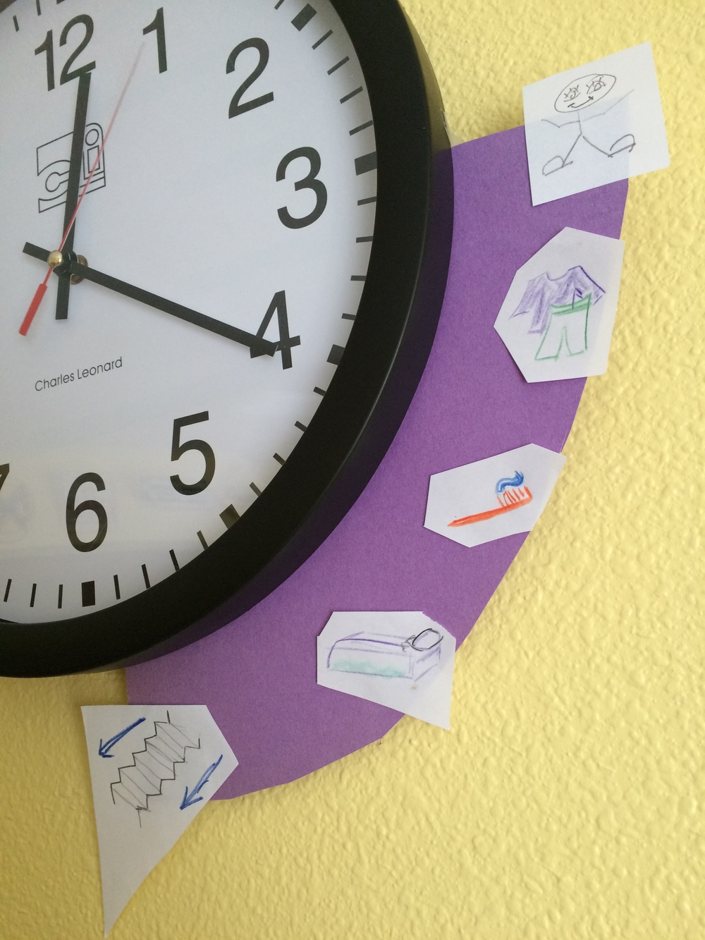 Kid's Clock Trick: Align the activities that need to be accomplished in a specific time, with a visual time indicator on the clock! (click to enlarge)