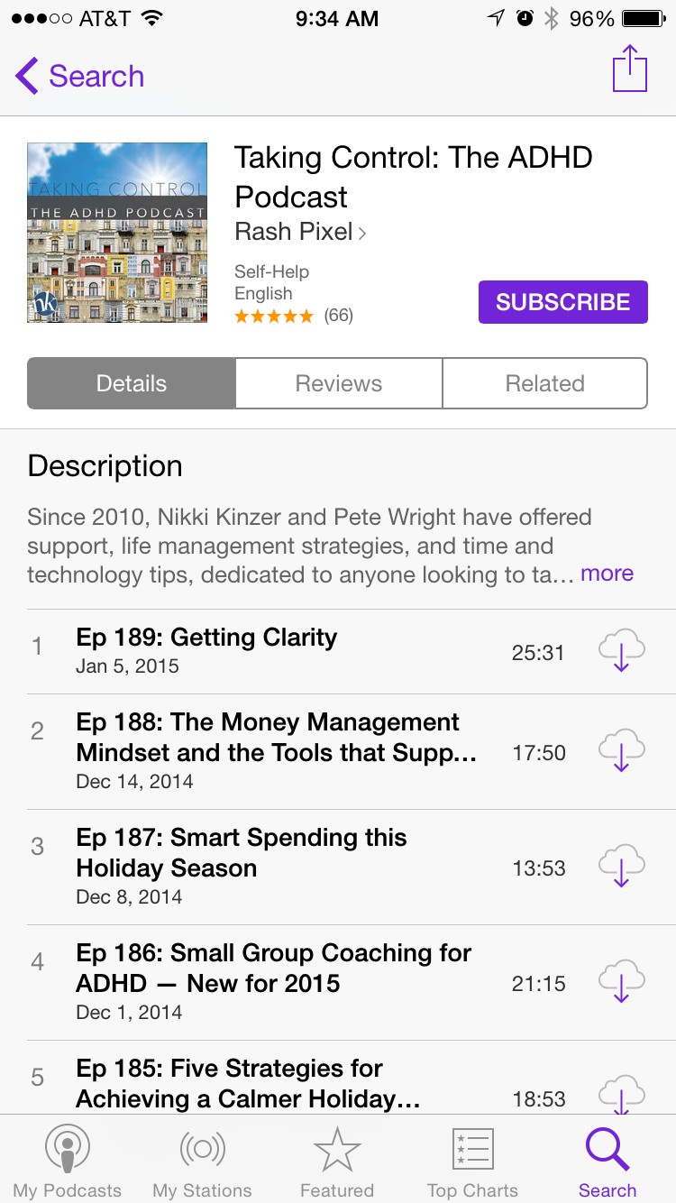 Here's what Taking Control looks like in the iOS Podcast app.