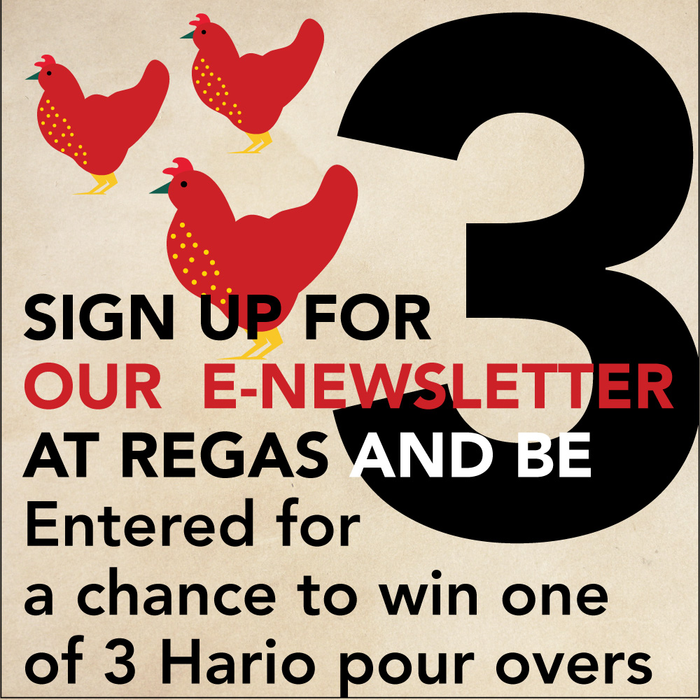 DEC. 22 - 3 FRENCH HENS 24 Hour Flash Giveaway. Sign up for our e-newsletter at Vienna Coffee at Regas and be entered to win one of 3 Hario pour overs.