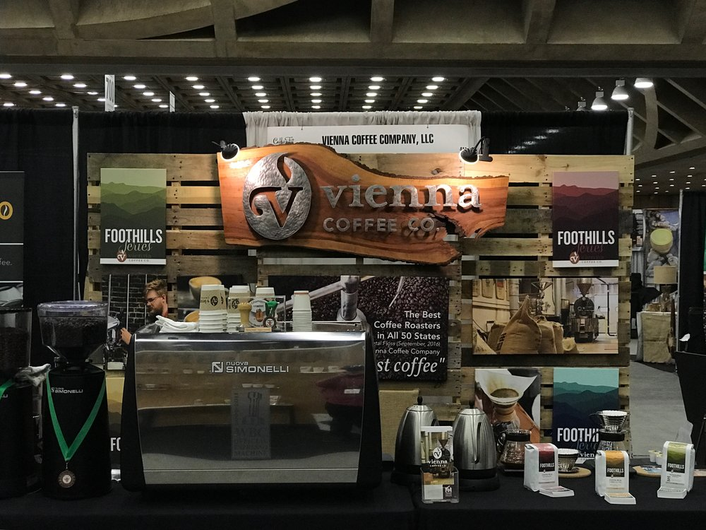 The calm before the storm at our Coffeefest booth.