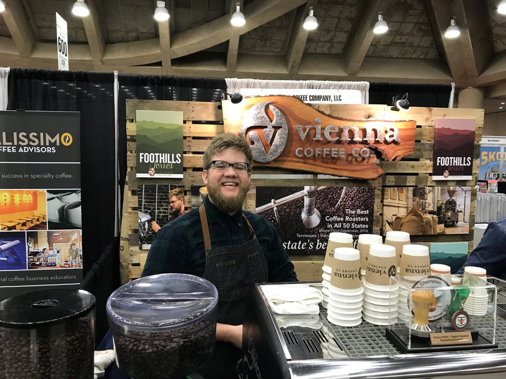 Andrew  loved  Coffeefest. Just look at his smile.
