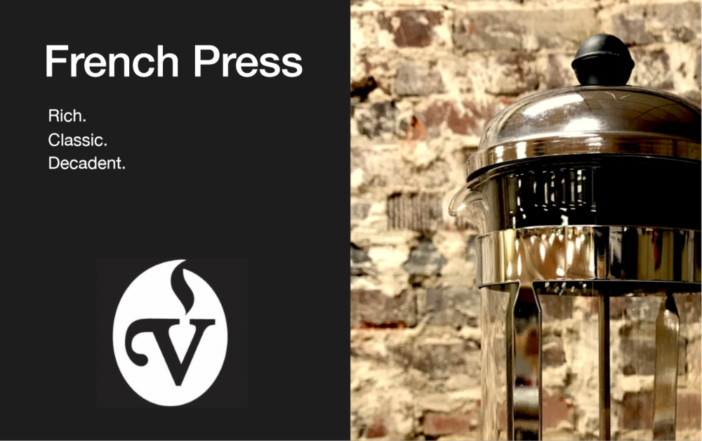 French Press Brew Guide - The French Press gives you a rich, full-bodied cup due to the presence of the coffee's oils. While you can brew any coffee in it, it lends itself best to darker roasted coffees.