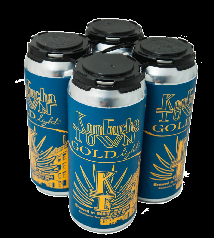 Kombucha Town Gold Light - Our non-alcoholic Kombucha featured in fine aluminum suit.