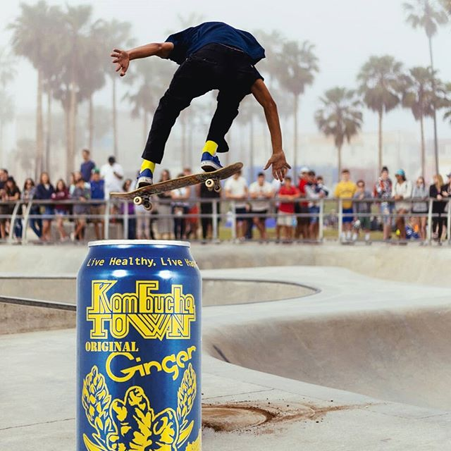 Kombucha Town Original Ginger is our flagship flavor! Brewed with organic Ceylon black tea, then blended with our house-made West African ginger beer for an additional digestive boost. #kombuchatown #kombucha #ginger #flavor #skateboard #livehealthylivehappy