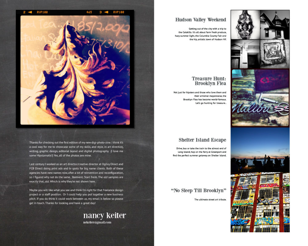 Introduction Page & Table of Contents.  Editorial design, photography and copywriting.