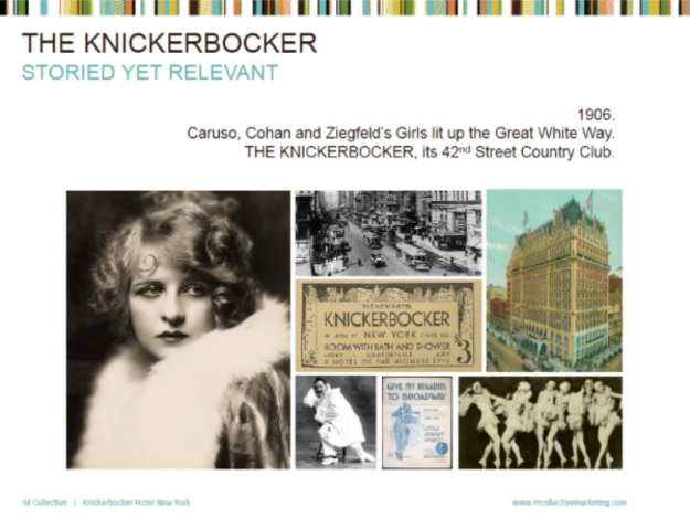 Brand Vision for MCollective new business pitch for The Knickerbocker Hotel 2012 - Page design & layout
