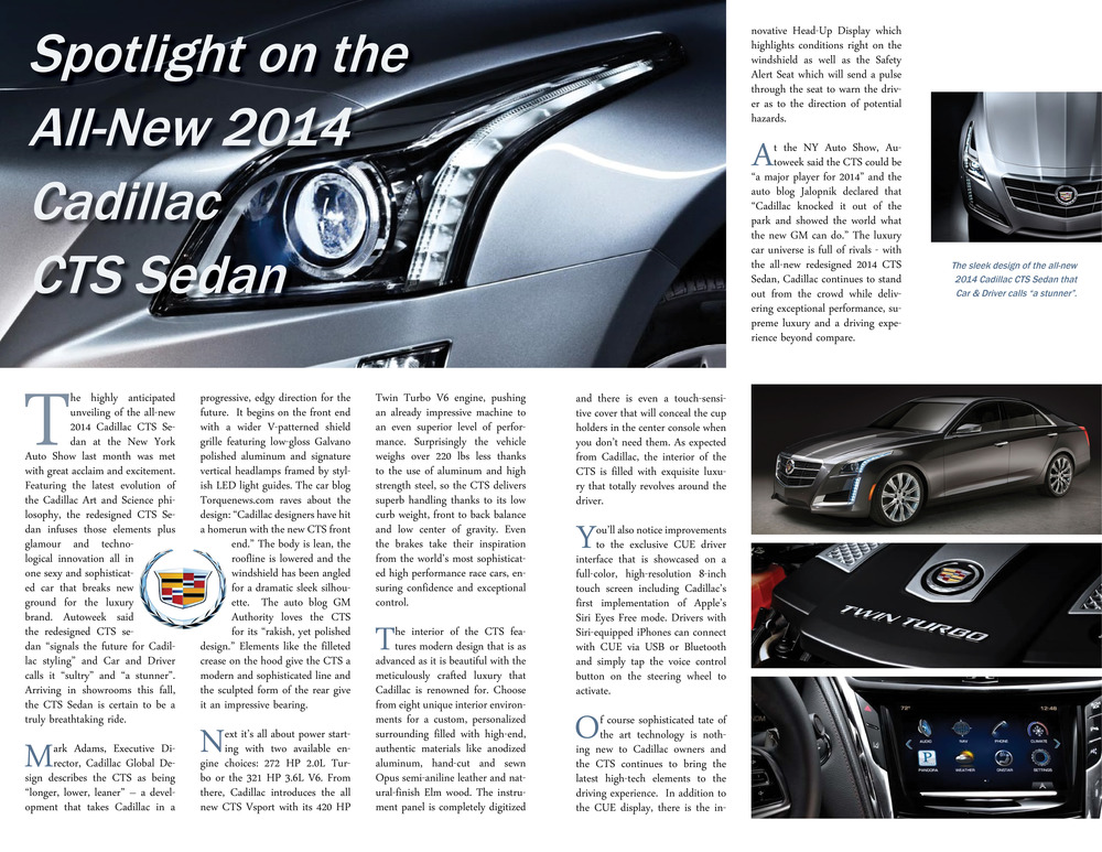 Cadillac CTS story for Pepe Cadillac - April 2013. Copywriting and layout
