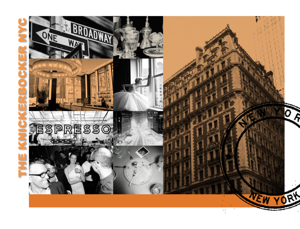 Mood Board for Knickerbocker Hotel NYC - Graphic Design, Photo sourcing, Layout.