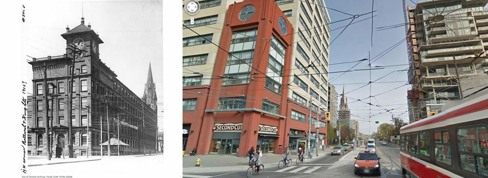 Bathurst Street and King Street Toronto  1912 vs 2013