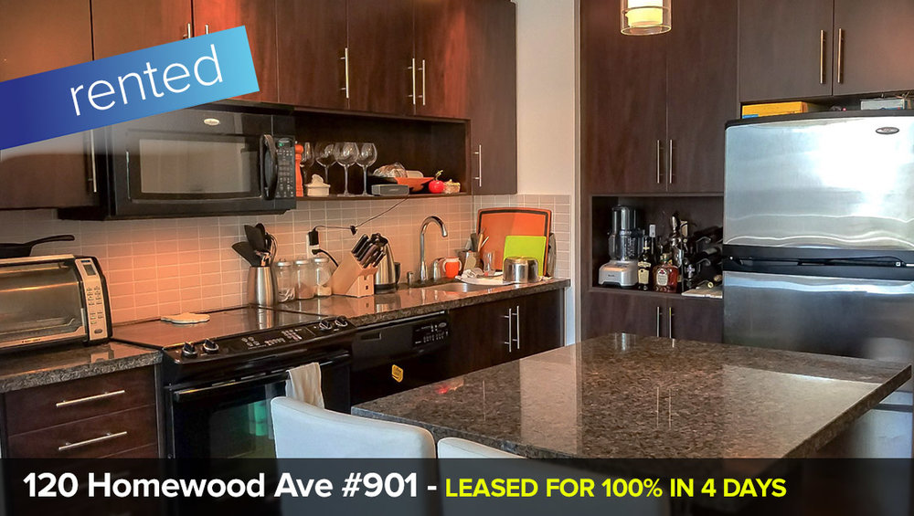120 Homewood Ave #901 - South St. James Town - Cabbagetown - 2 Bedroom Condo   LEASED: 100% of List Price (in only 4 days!)