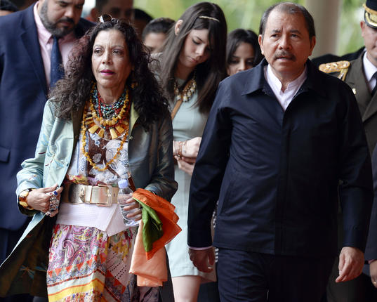 Nicaraguan President Daniel Ortega (right) and his wife, Rosario Murillo. Source: AFP/Juan Barreto