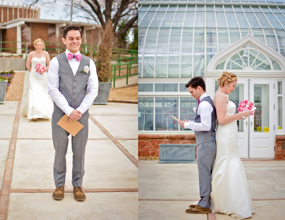 Bride and Groom's first look! Before they saw each other, they read letters from each other. So sweet!