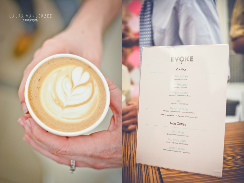 Evoke coffee and pie. What a great idea!