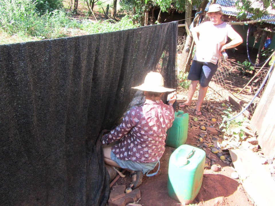 Installing a demonstration biodigester in her community