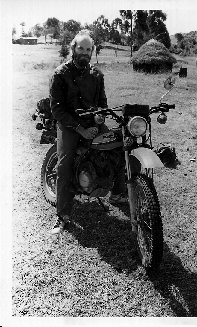 Riding a moto in Kenya, 1986.