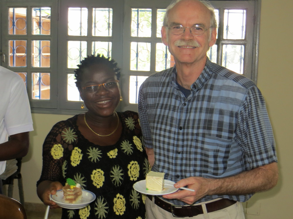 George with a member of the HAI Cote d'Ivoire staff.