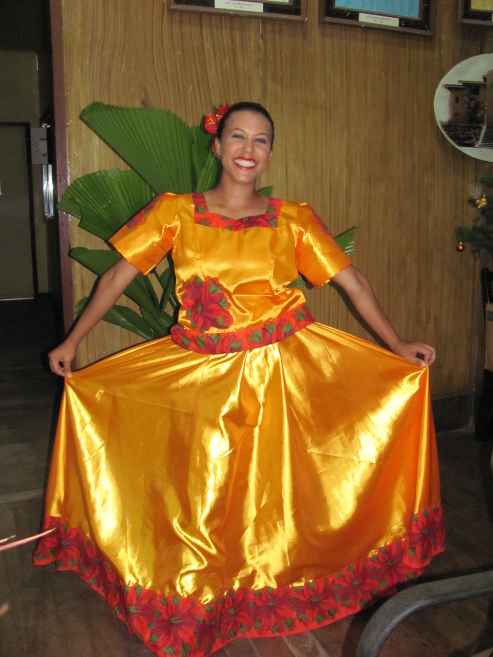 Wearing traditional Filipino attire