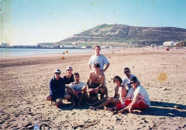 Brian (far right) on the beach in Agadir, Morocco