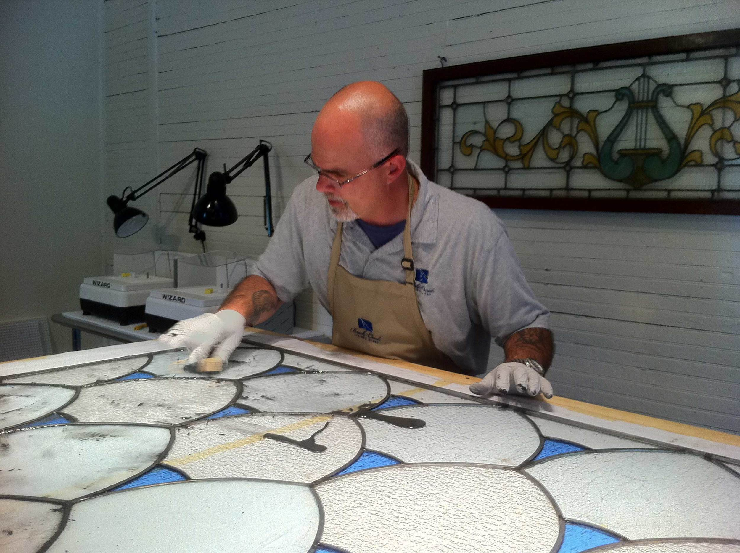 Glazing the PSID Project at Buck Creek Stained Glass