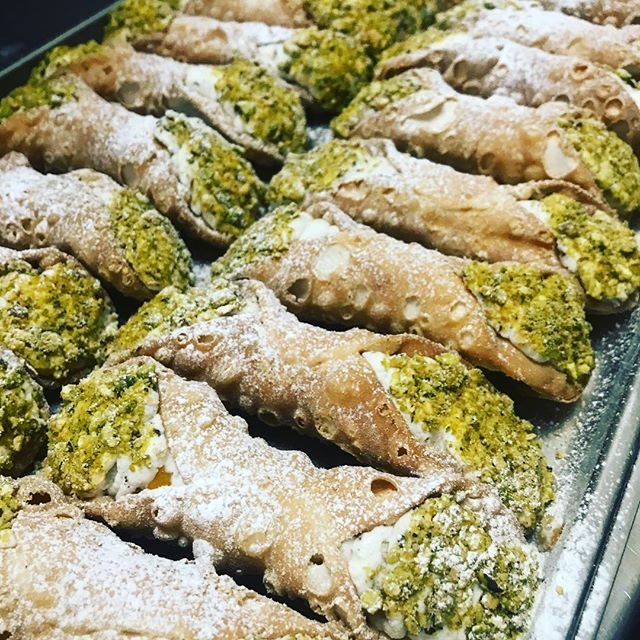 Cannoli Siciliani: ricotta, candied fruits, chocolate and pistachios.  You can't miss them!!! #cannoli #sicily #dessert #dolci #ricotta #sweet #pastry #ombrettasydney