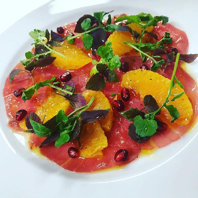 Tuna Carpaccio: orange segments, pomegranate, watercress and evoo #yummy #food #ombretta #oz #ombrettasydney #sicily #region #special #antipasto #entree #summer #finefood