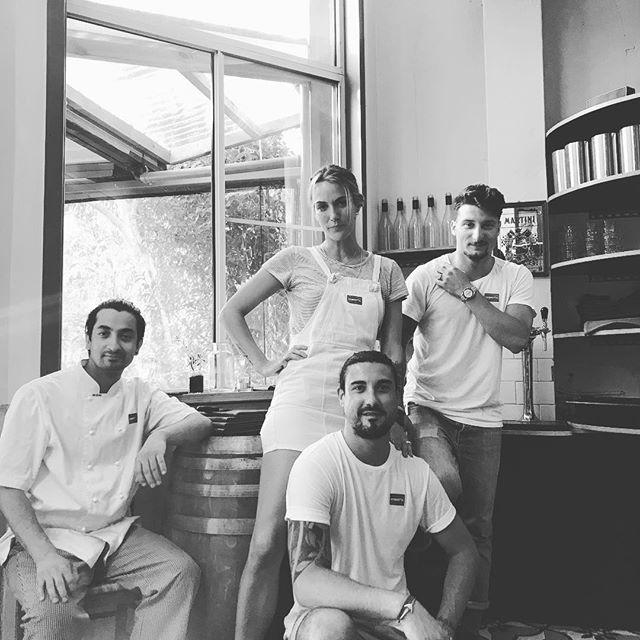 The marvellous team of Ombretta Restaurant #chef #owner #bartender #designer #manager #food #black #white #locals #glebe