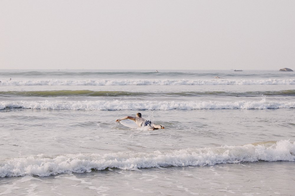 Early morning surf in Weligama.