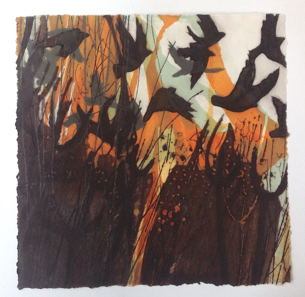 """Escaping the Gorse""   Monoprint, Drypoint & Carborundum print"