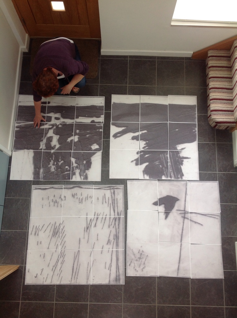 Enlarged drypoint prints - Cold East Cross