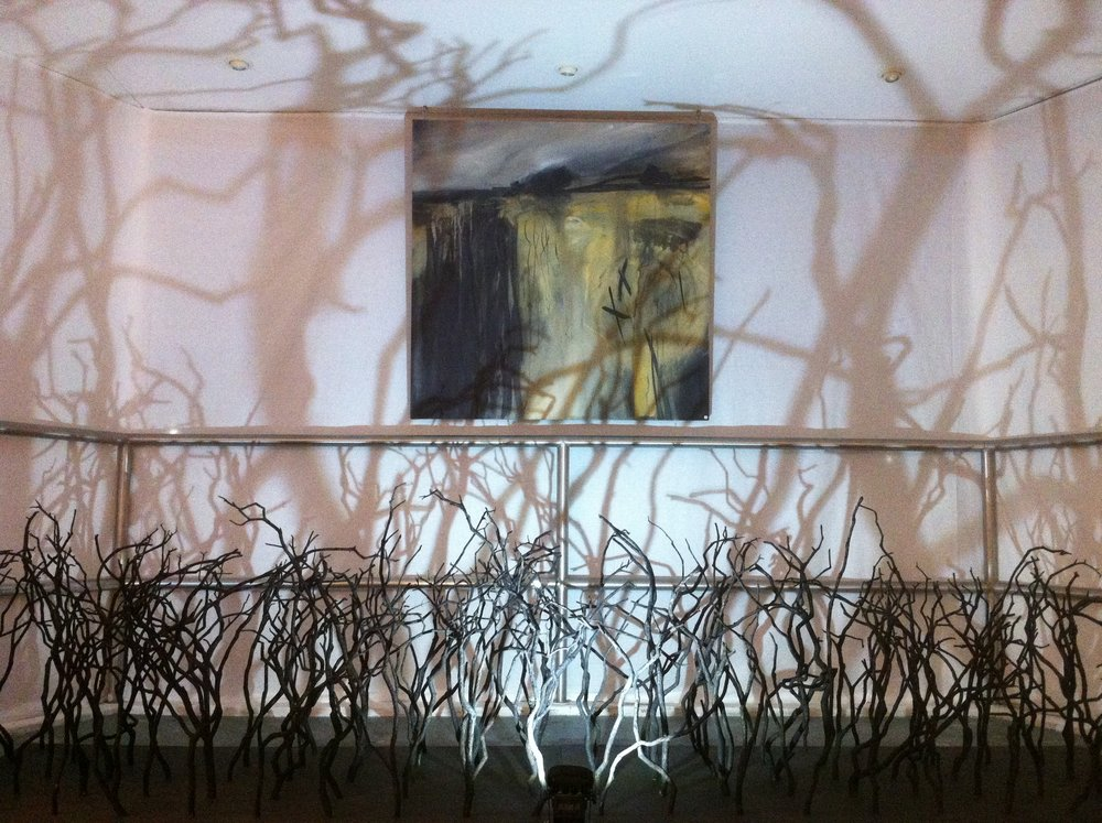 Cold East Cross (Mixed media on canvas) & Controlled Burning (Burnt Gorse Installation)