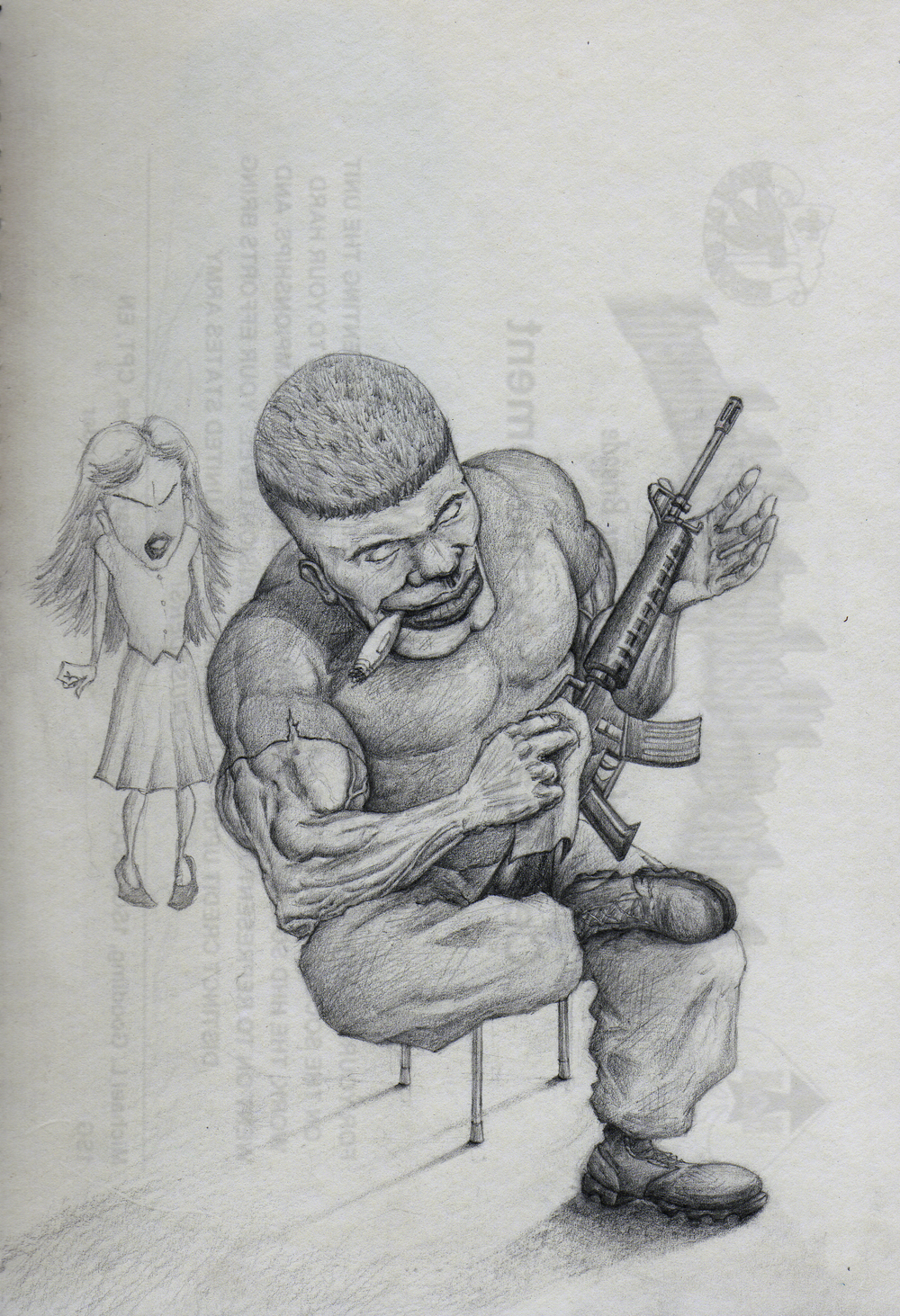 / Pencil on paper /  ' I used to date a beauty queen,    now I date my M-16.'