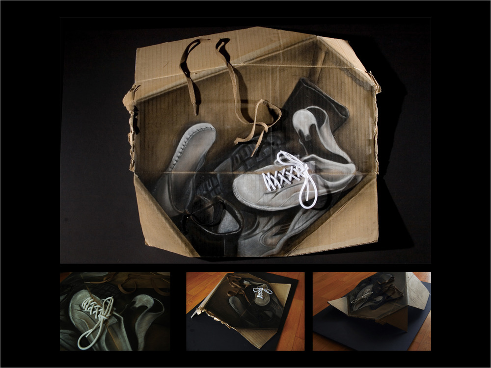 Shoes  / Charcoal, pastel on box /