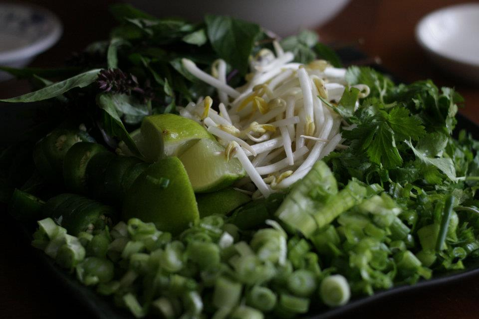 Garnishes for pho (green onions, cilantro, bean sprouts, basil).