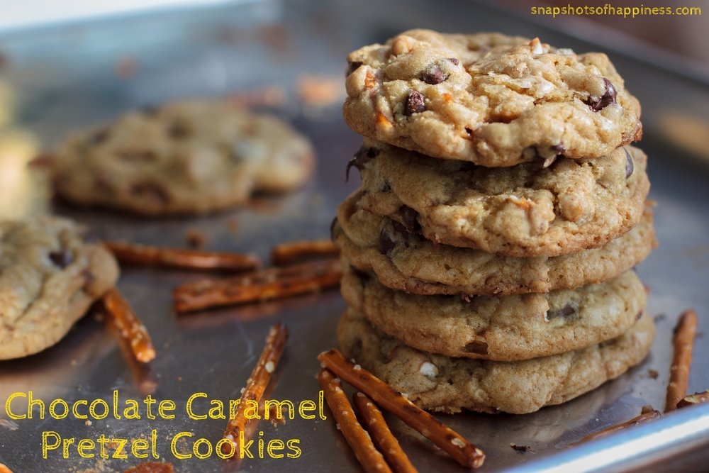Chocolate Caramel Pretzel Cookies