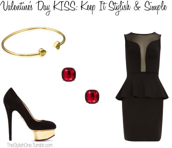 Dorothy Perkins peplum cocktail dress / Charlotte Olympia high heel pumps / Bangle jewelry, $125 / Kate Spade studded jewelry