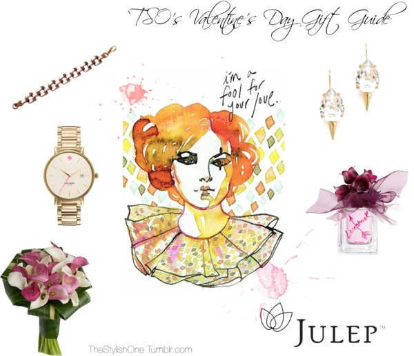 Lulu Frost Bracelet / Kate Spade Watch / Vera Wang Bouquet Fragrance / Classique Pear Micro Spike Earrings / Vera Wang Lovestruck / Julep Maven Membership Samantha Hahn Illustrative Valentines
