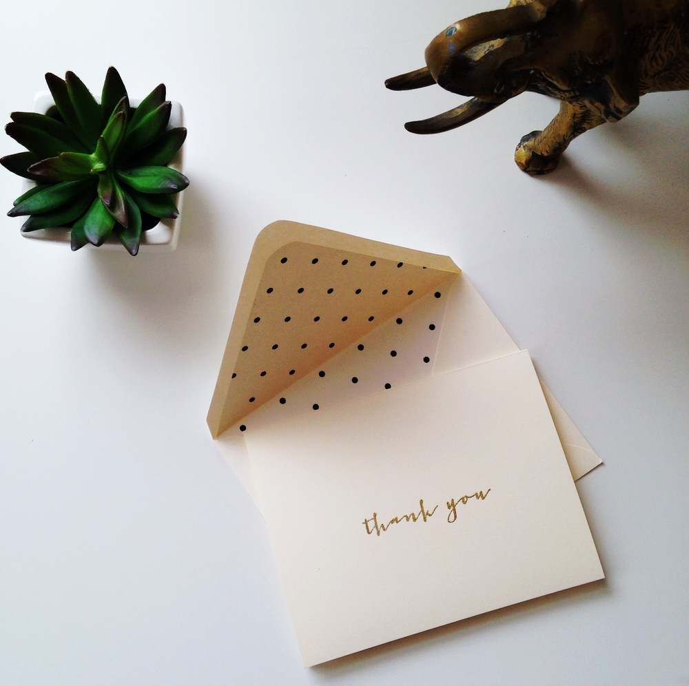 I am loving this gold thank you note with polka dot envelope liner!