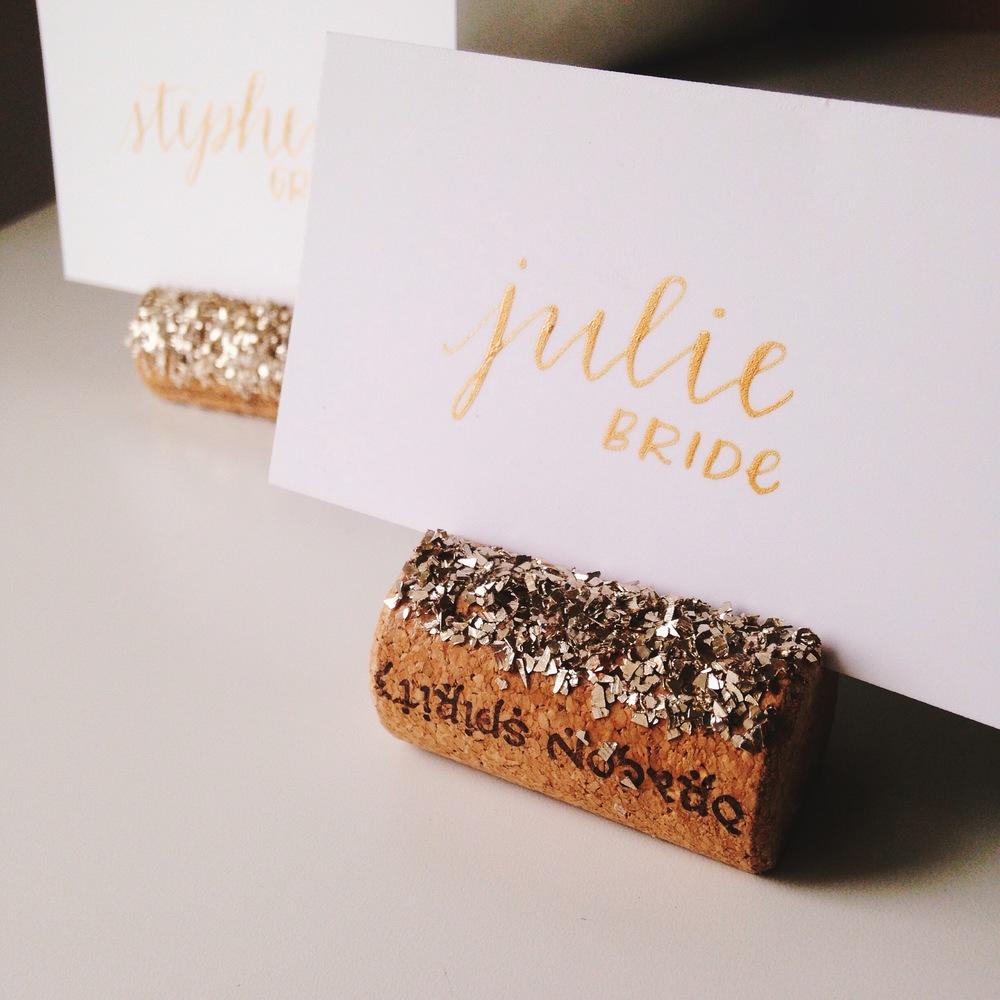 Glass Glitter Wine Cork Place Card Holders — The Stylish One