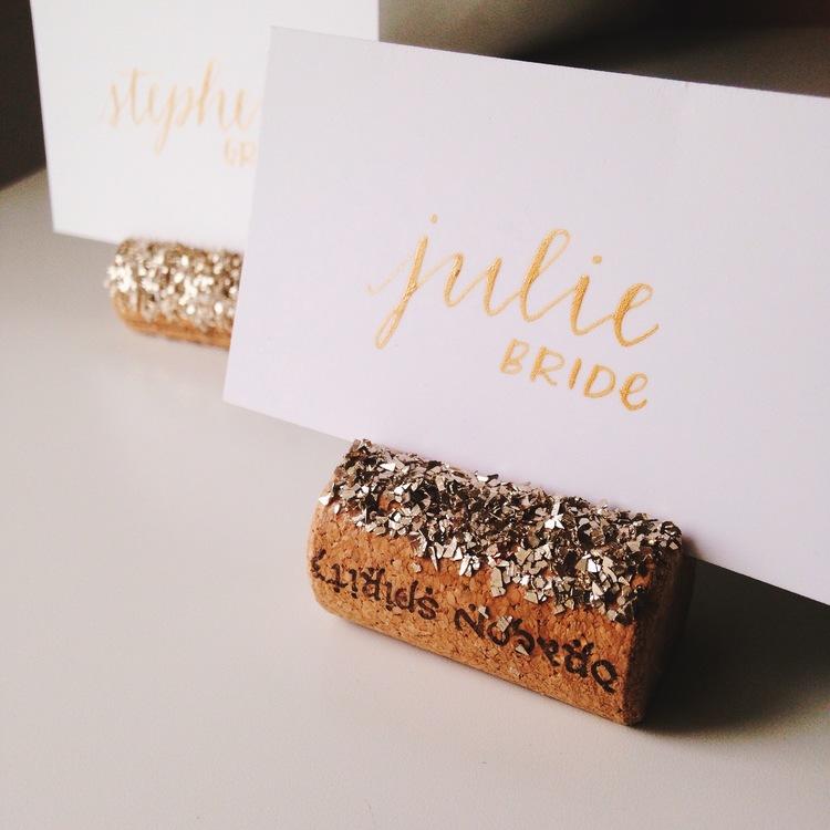 Glass Glitter Wine Cork Place Card Holders The Stylish One