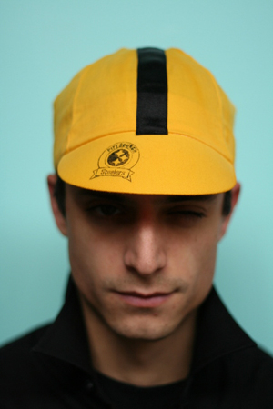 Spokepunchers Sp 07, cotton woven cycling cap with wicking elastic. Hand- dyed and printed.