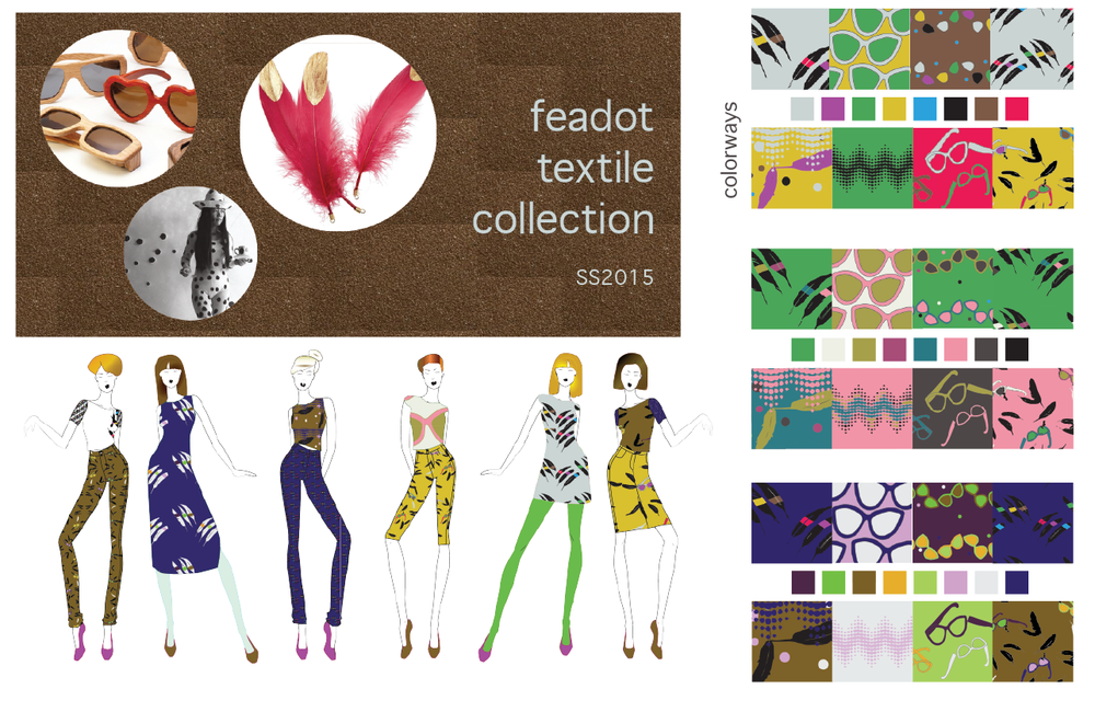 Feadot textile collection in three colorways.
