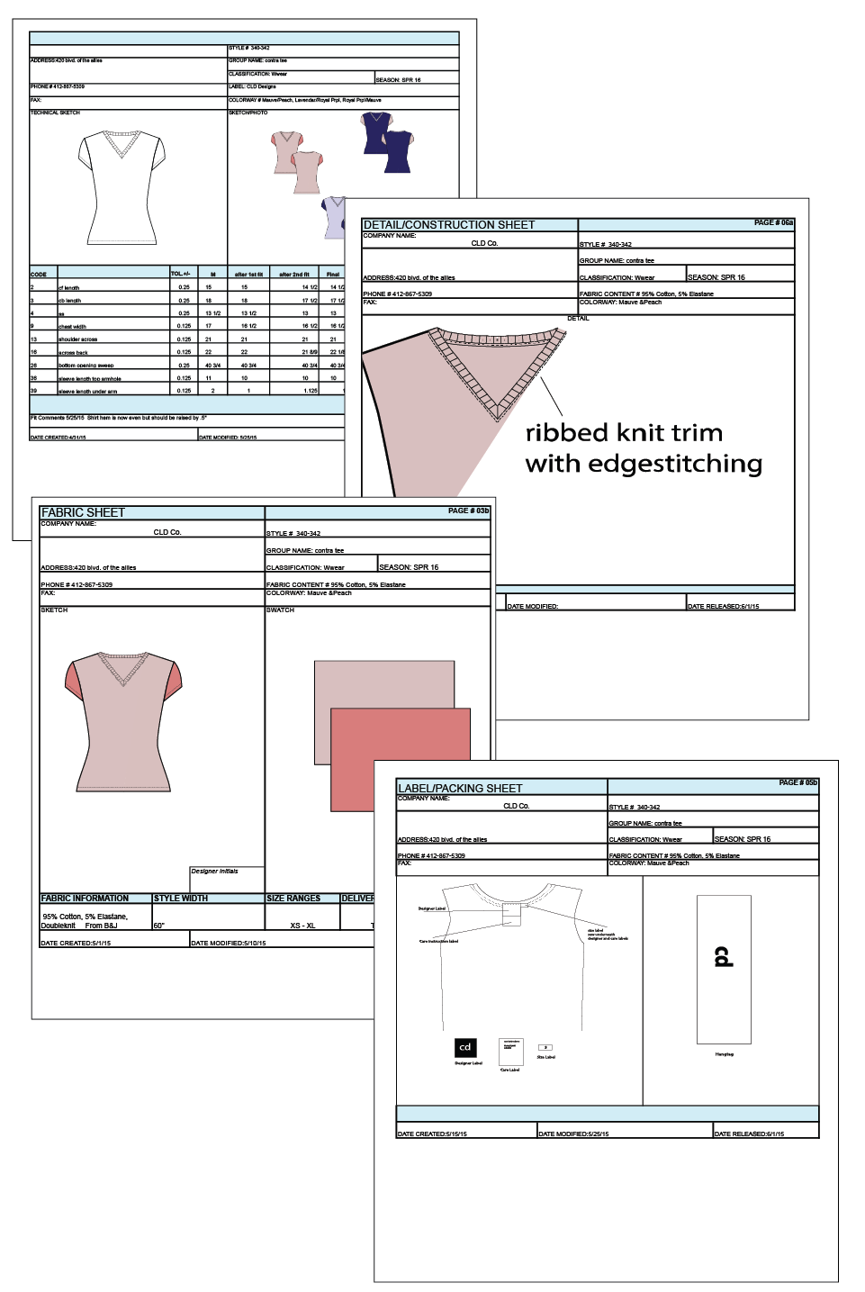 Sample pages of technical package for V-neck t-shirt, created with excel using drawings made in Illustrator.