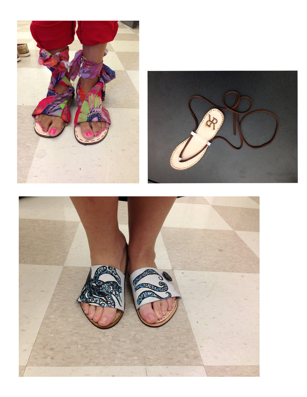 Student Samples: Leather and textile shoes created with lasercutter, hand sewing, and leather dyes.