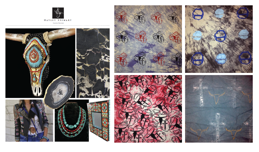Student Sample: Inspiration board and textile collection created using various surface design techniques including immersion and shibori dyeing, silkscreening, and blockprinting.